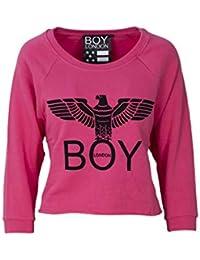 06db7d850539 Boy London Felpa Donna Fragola Basic Corta Stampa con Logo BLD1508