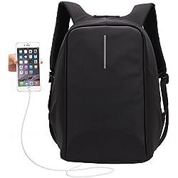 Anti-Diebstahl Rucksack,UBaymax Laptop Rucksack mit USB Anschluss,15,6 Zoll Notebook Unisex Klassischen Schulrucksack Daypack, Canvas Wasserdicht, Schwarz