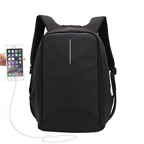 """Antifurto Zaino con Porta USB, Zaino Per PC Portatile Impermeabile da Uomo Ubaymax, 15.6"""" Borsa Per La Scuola Scuola, Business, Viaggio, Attività All'aperto (Nero)"""