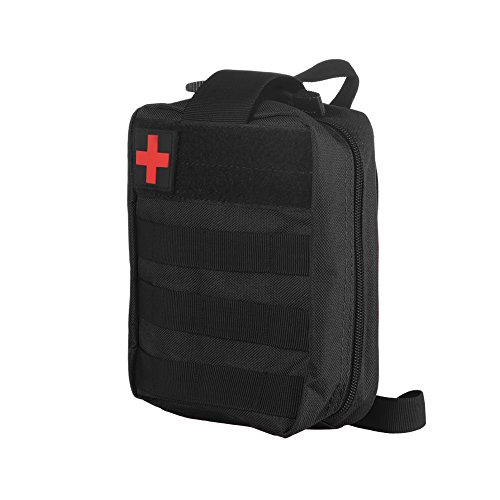 Erste-Hilfe-Tasche Leer, AOZBZ Notfall Notfall Taktisches überleben Pouch Bag Compact für Wanderungen, Rucksackreisen, Camping, Reise, Radfahren, Outdoor und Sport (Schwarz) (Trauma-erste Hilfe)