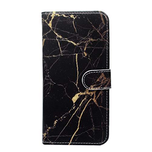 S10+ Hülle, für Samsung Galaxy S10+ Leder Flip Case Tasche Wallet Handyhülle Kunstleder Bookstyle Brieftasche Schutzhülle Handytasche Magnetisch Kartenfach Ständer Etui Schwarzer Goldmarmor (S10-hülsen)