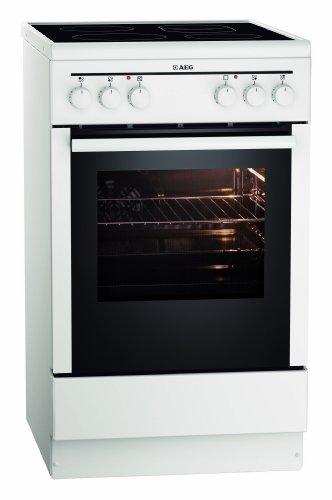 AEG 40095VD-WN 50 cm Standherd mit Glaskeramik-Kochfeld / Bräterzone / Mehrkreiskochzone / Grillfunktion / A