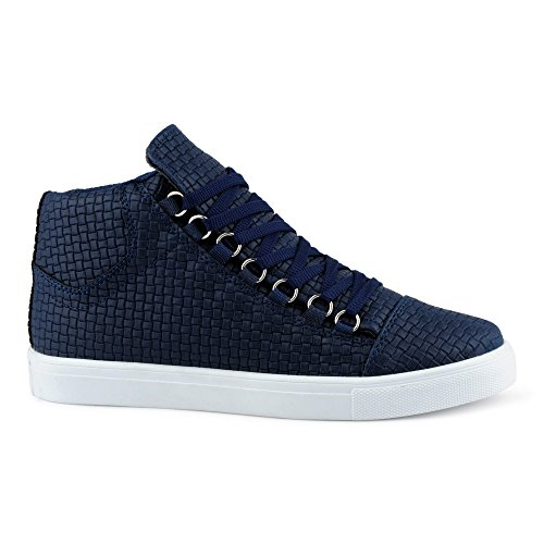 FiveSix Herren Sportschuhe High Top Sneaker Muster Basketballschuhe Freizeitschuhe Schuhe Dunkelblau