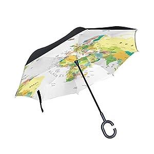 jstel doble capa diseño mapa del mundo paraguas coches Reverse resistente al viento lluvia paraguas para coche al aire libre con asa en forma de C