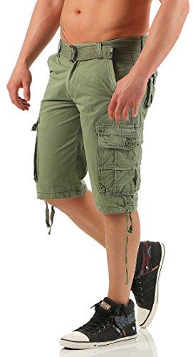 malito Herren Bermuda Shorts in unterschiedlichen Ausführungen | kurze Funktionshose | ¾ Cargo Hose - Freizeithose 17-06 Grün