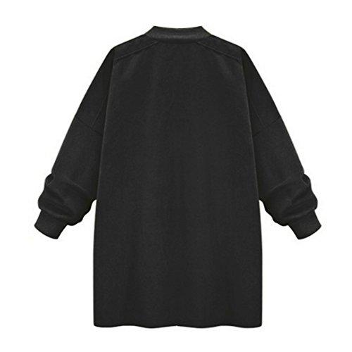 Etosell Femmes Hiver Chaud Long Trench Coat Veste Parka Outwear Noir
