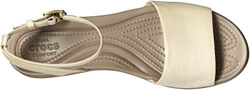 Crocs - Les plates-formes cuir en cuir de Leigh Ann Ankle Strap Stucco