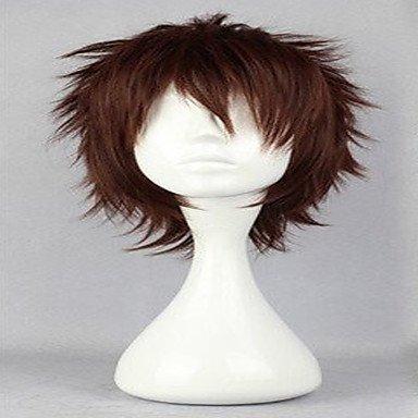 MZP beliebten cosplay Perücke natürlichen Perücken Perücken Mann dunkelbraune kurze lockige animierte synthetische Haarperücken , (Perücke Kappe Dunkelbraune)