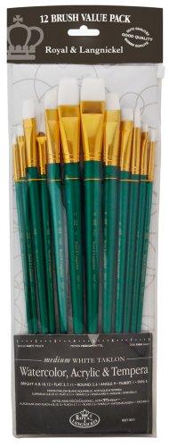 Royal and Langnickel RSET-9311 - Set di pennelli a manico lungo per pittura acrilica/a olio/tempera, con ghiera dorata e setole in taklon bianche, elasticità media, confezione da 12 - Langnickel Pennelli
