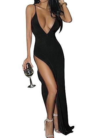 YesFashion Femme Robe longue Robe bretelle Sexy Robe Fendue Col V Cache coeur Slim robe maxi Noir S