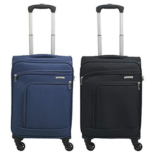 Coppia trolley cabina valigia tessuto bagaglio a mano gianmarcoventuri 022d_(blu)(nero)
