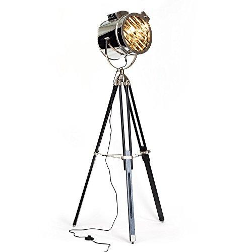 Exklusive Stehleuchte im Industrie Design, Stativ mit Holzbeinen, H 175 cm, Ø Schirm 45 cm, 1x E27 max. 60W, Metall / Glas, schwarz / chrom (60-watt-industrie-lampe)