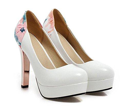 ladyz chiuso le dita dei piedi scarpe da fiori di corte della piattaforma impermeabile bocca poco profonda pattini dell'alto tallone white