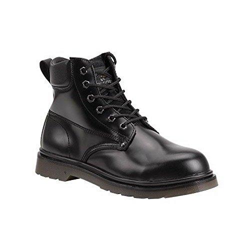 FW28 Chaussures/bottes de sécurité en cuir anti-dérapantes avec coussin d'air et embout en acier - 7 UK Noir