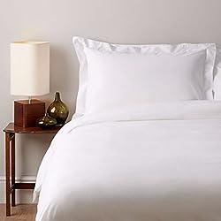 Classic sábanas de algodón egipcio, 200hilos–sábana bajera ajustable | Soak & Sleep, Blanco, King (150cm x 200cm)