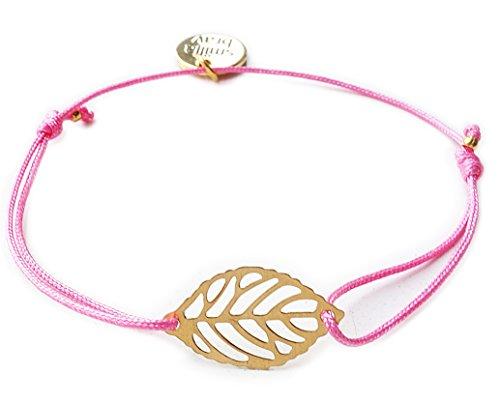Smilla Brav Freundschaftsarmband feines Damen-Armband Fleur mit Blatt - pink/Gold - Freundschaftsarmband TS14 - Fleur De Blatt