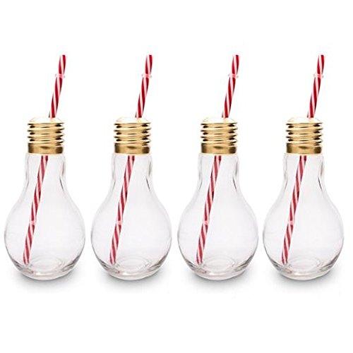 CKB Ltd® Pack of 4 Edison Light Bulb Neuheit Gläsersets Trinkgläser mit Deckel und Trinkhalm Stroh 4 Gläser Set Ideal für Soft Getränke, Bier, Cocktails und Rum
