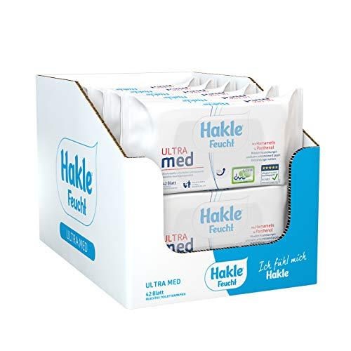 Hakle Feucht ULTRA med im 12er-Pack (12 x 42 Blatt), pflegendes feuchtes Toilettenpapier, hautverträgliche feuchte Tücher, schnell wasserlösliche Feuchttücher