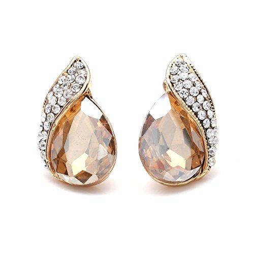 Champagner Kristall mit Tropfenform goldfarbene Clip auf Ohrringe