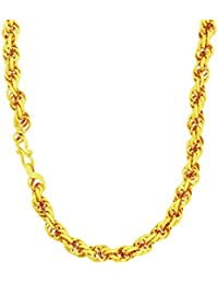 DzineTrendz 24KT Gold Covered Brass 24 Inch, 6mm Thick Rope Design Stylish Fashion Chain Necklace For Men Women...
