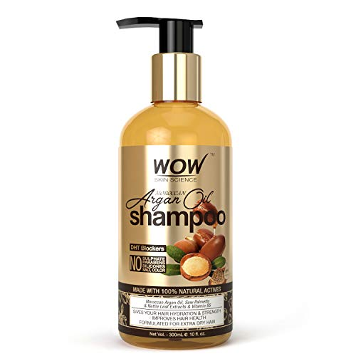 WOW Skin Science Moroccan Argan Oil Shampoo (with DHT Blocker) - No Sulphates, Parabens, Silicones, Salt & Colour - 300 mL