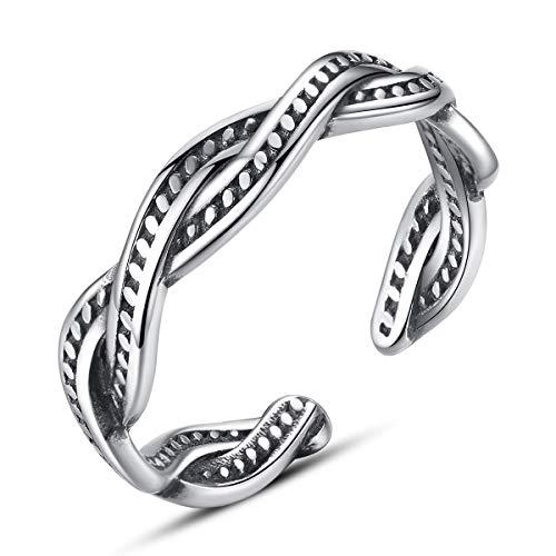 Jösva Vintage Ring 925 Sterling Silber Verstellbar Weave Knot Twist Retro Ring, Thai Silber Öffnen Einstellbare Versprechen Ring Paar Ring, Unisex Schmuck für Ehefrau Ehemann Freundin Freund