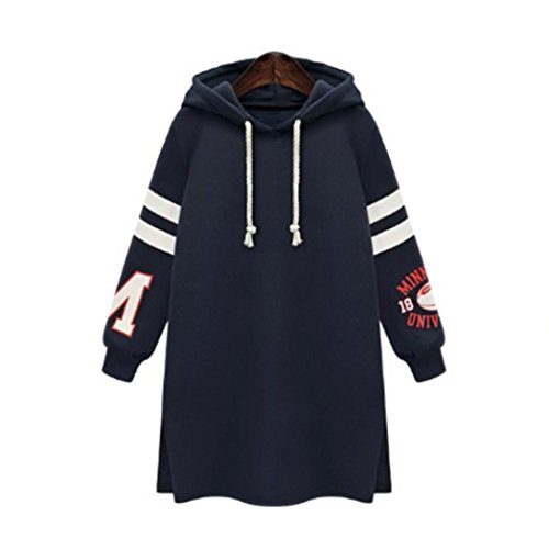 Grande Taille Femme Sweat Robe à Capuche,Overdose Soldes Hiver Femmes Sweatshirt Oversize Hoodie Pullover Casual Tops (52, Bleu Marine)