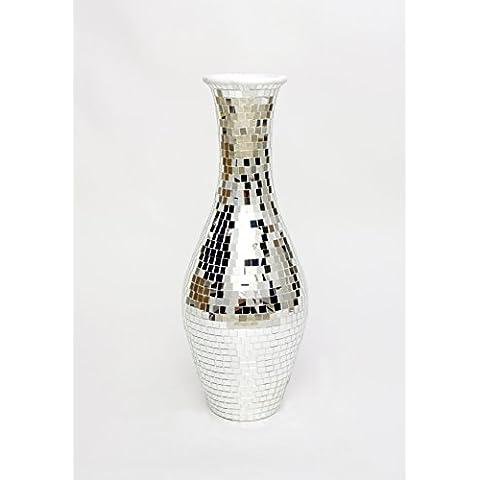 Grande Vaso da Terra con Mosaico in Vetro 80 cm, Ceramica, Argento