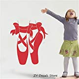 haotong11 Baby Mädchen Room Decor Aufkleber Vinyl Wandaufkleber Ballerina Schuhe für Ballett Pointes Raumdekoration Abnehmbare Wandtattoo Kinder 42 * 49 cm