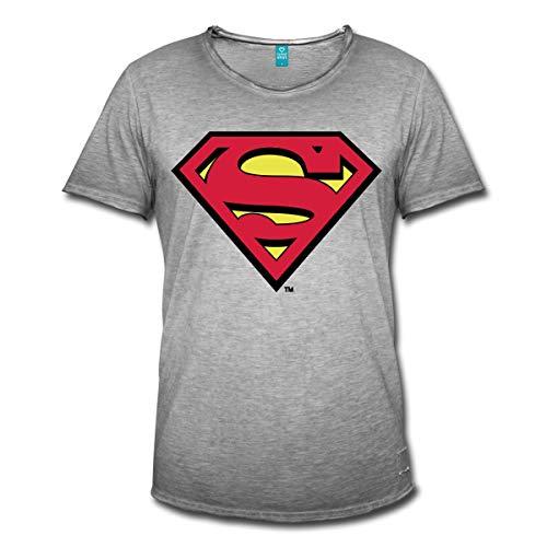 Spreadshirt DC Comics Superman Logo Original Männer Vintage T-Shirt, L, Vintage Grau (Mann Of Steel Superman Kostüm T Shirt)