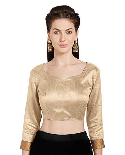 Mirchi Fashion Frauen Beige Art Silk Readymade Party Saree Bluse Stilvolle Choli Top