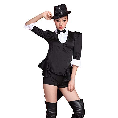 uirend Tanzsport Bekleidung Damen Kleider - Frauen Tippen Sie auf Tanzen Jazz Hip Hop Kostüme Leistung Lust auf Kleiden Schwalbenschwanz Anzug Sets