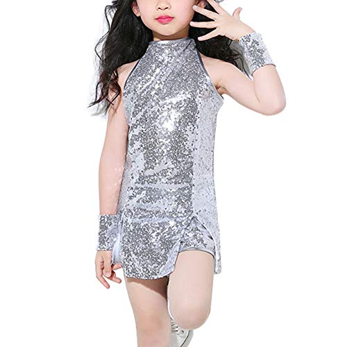 Kostüm College Mädchen - Huatime Mädchen Pailletten Hip Hop Jazz Performance Kostüme - School Street Dance Clothing Set Cosplay Modern Tanzkleid Outfits Armellos Kinder Cheer Leader College