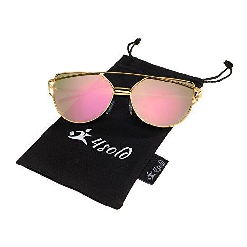 4sold Katzenauge Metall Rand Rahmen Damen Frau Mode Sonnenbrille Verspiegelt Linse Women Sunglasses mit Gold Rahmen Rosa Linse (Pink)