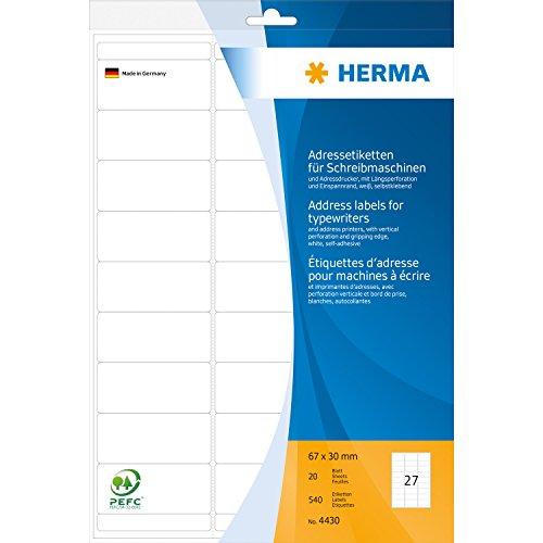 Herma 4430 Adressetiketten für Schreibmaschinen und Adressdrucker (67 x 30 mm) weiß, 540 Adressaufkleber, 20 Blatt DIN A4 Papier matt, mit Längsperforation und Einspannrand, selbstklebend