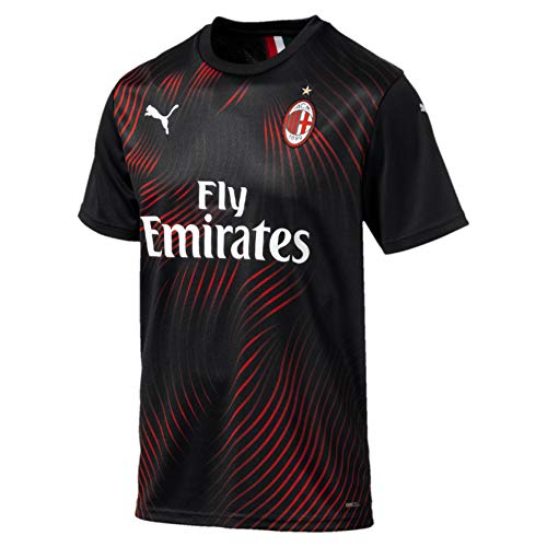 PUMA Herren ACM Third Shirt Replica SS with Sponsor Logo Trikot, Black/Tango Red, M - Milan-bekleidung Ac