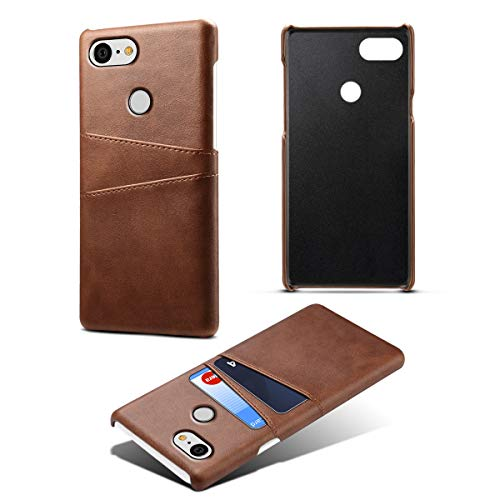 Casefirst Google Pixel 3 Case Luxury PU Leather Wallet Flip Protective Pocket Case Cover with Card Slots and Stand for Google Pixel 3 Dark Brown Luxury Wallet Case