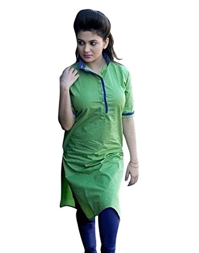 Clothfab Women's Cotton 3/4 Sleeve Plain Solid Casual Kurti Size : XL (Green Colour)  available at amazon for Rs.150
