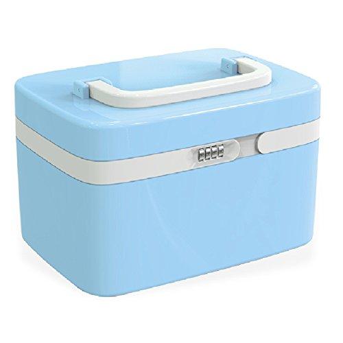 Fine Dragon Tragbare Kosmetik Organizer Aufwahrungbox Make Up Kosmetikkoffer Schminkkoffer mit Zahlenschloss,Blau