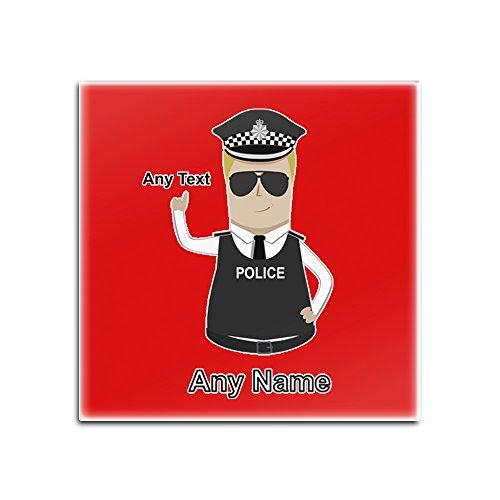 UniGift Personalisiertes Geschenk - (Chief) Superintendent Untersetzer (Polizei-Design-Farboptionen) - Einzigartige Matte Pad - Super Supt SP CS - Blond/Gelb Haar Polizist Hut Cap, rot, Quadrat (Einzigartige Weihnachten Hüte)