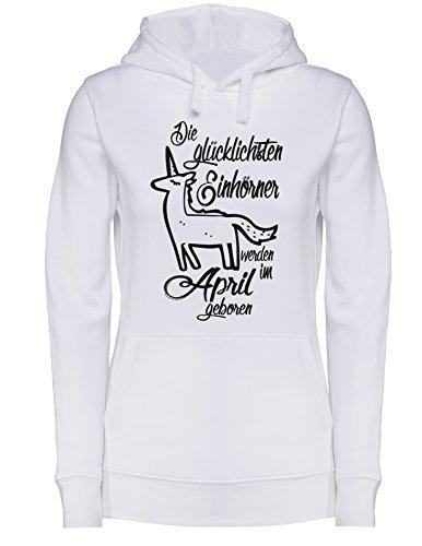 Die Glücklichsten Einhörner werden im April geboren! Perfektes Geschenk zum Geburtstag - Damen Hoodie Weiss/Schwarz