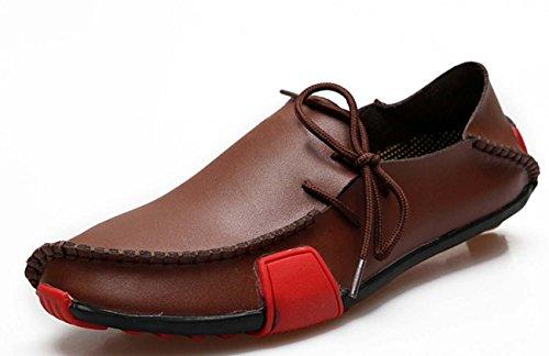 NobS Grande taille44-47 Chaussures de sport en cuir Chaussures de bateau Conduite Peeny Mocassins Chaussures Chaussures paresseuses Pois Chaussures Brown