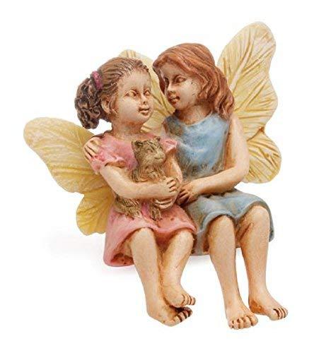 sitzend Schwester Feen mit Kätzchen Miniatur Fairy Garden Figur aus Kunstharz -
