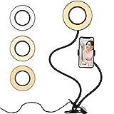 Diyife Anillo de Luz Selfie,[Nueva Versión] LED Luz Anular con Soporte para Teléfono Brazo Largo Flexible 3 Modos de Iluminación para Youtube Transmisión en Vivo Maquillaje Fotografía