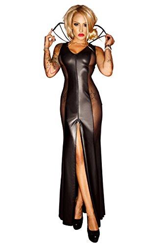 Schwarzes erotisches langes wetlook Kleid mit Kragen Damen Dessous wetlook Kostüm halbtransparent (Noire Kostüm Chemise Noir)