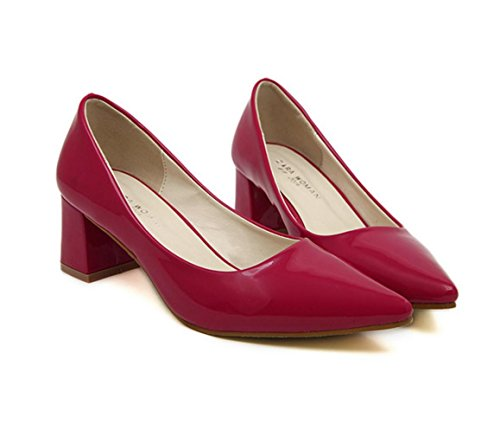 WZG Nouvelles chaussures en cuir verni talons pointus bouche peu profonde chaussures à talons épais nouvelle Red