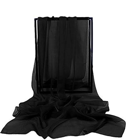 Dresstells Chiffon Schal Stola für Abendkleider in verschiedenen Farben Black 190cmX70cm