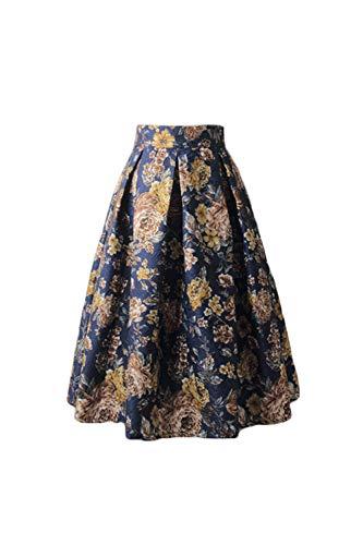 Jumojufol Mujer Retra Falda 50s Hepburn Estampada