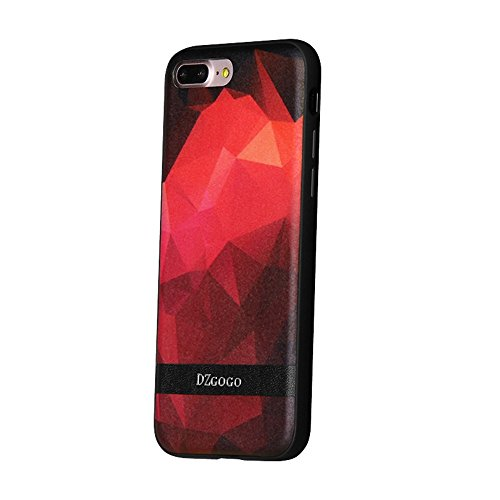 DaYiYang DZGOGO TOUCH Serie für iPhone 7 Plus Unregelmäßiger Rhombus Textur TPU + PU + PC Kombi Schutzhülle ( Color : Black ) Red