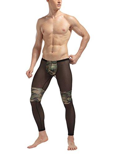 Herren Sheer Camouflage Leggings Lange Unterhose Transparenz Camo Hose Sport-Tights Unterwäsche Strumpfhose Neu (XXL (L)) (Sheer Herren Unterwäsche)